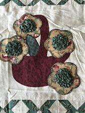 """Handmade Quilt Top FLOWER BASKET Thimbleberries Fabrics 23.5"""" Sq NEW Applique 3D"""
