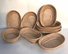 Vintage Thai Handicraft Wicker Crafts Rattan Tray Food Fruit Serving Oval Shape