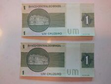 Brazil - 1 Cruzeiro Paper Money - Circulated - 1980 (Set of 2 - Sequenced)