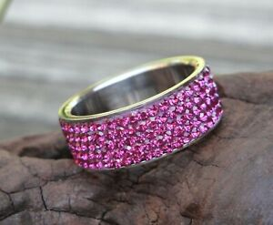 Womens Pink 5 Row Crystal Stainless Steel Ring Sizes 8 6 5 **CLOSEOUT SALE**