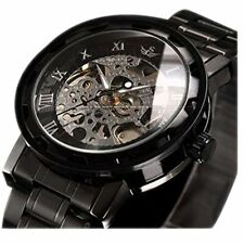 LUXURY Men Classic Skeleton Stainless Steel Mechnical Watch (Link Bracelet)Black