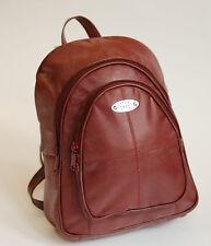 New Strong Leather Small Zipped Rucksack/Handbag Dark Beige, Burgandy Red