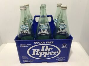 Dallas Cowboy Roger Staubach Sugar Free Diet Dr Pepper Crate & 6 Bottles 32oz