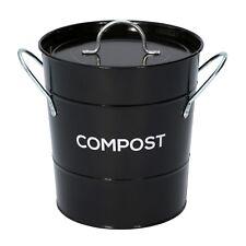 Black Compost Caddy Avec Bac Intérieur-Cuisine composteur de-Métal Seau
