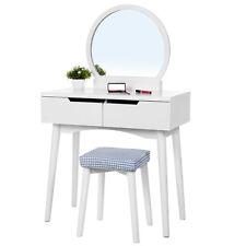 SONGMICS Dressing Table Set Round Mirror Makeup Desk With Stool White RDT11W