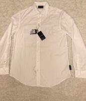 $295 Emporio Armani White Collared Long Sleeve Button Down Shirt NWT Mens Size M