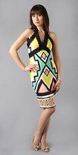 Hale Bob Multi Printed Neoprene Halter Dress Empire Waist XS NWT 4HGL6564