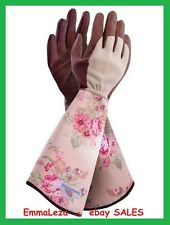 GardenGirl  Ladies Gloves Gauntlets Rose Pattern Reinforced Palms Long Cuffs  L