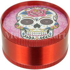 "2"" Candy Skull Grinder Red 3 Piece Tobacco Herb Spice GR041-CSK"