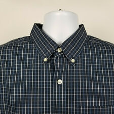 Eddie Bauer Wrinkle Free Classic Fit Mens Dark Blue Check Dress Shirt TL L-Tall