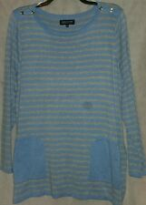 "Jones New York woman sweater STRIPED lt. blue/gray heather 3x NWT ""SPECIAL PRICE"