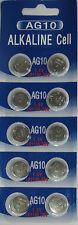 10 Pk AG10 LR1130 389 390 189 L1131 LR54 D389 Alkaline Button Cell Battery