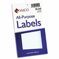 Maco Multi-Purpose Self-Adhesive Removable Labels, 1 1/2 x 3, White, 160 package