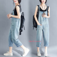 Womens Loose Denim Overalls Bib Pants Jeans Jumpsuits Rompers Dungarees Trousers