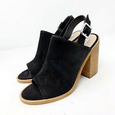 Steve Madden Sandals 7.5 Heels Block Black Suede Lanto NEW