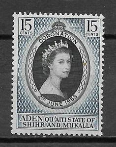 ADEN/QU'AITI STATE OF SHIHR AND MUKALLA 1953 SG28 15c. CORONATION  -  MNH