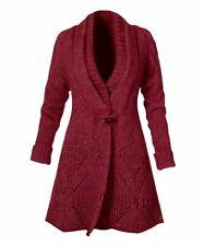 Red Diamond-Knit Shawl-Collar Toggle Cardigan, Size Large