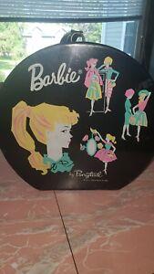 Vintage 1962 Mattel BARBIE BY PONYTAIL Round Black Carry Travel Case w/clothes.