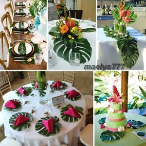 feuille Monstera  artificielle décoration tropical set de table mariage maison