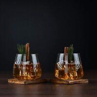 Whiskey Glasses Set | Large Crystal Glass Modern Shape | Hand Blown 14oz | 2 set