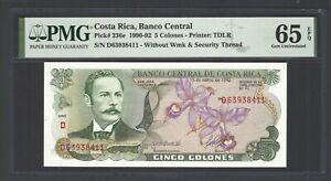 Costa Rica 5 Colones 4-10-1989 P236d Uncirculated Grade 65
