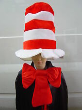 Dr Seuss Stripe Cat in the Hat Costume Hat and Bow Tie Fancy Dress