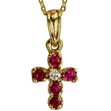 Ruby Pendant Cross Ruby Necklace With 14k Yellow Gold And Diamonds