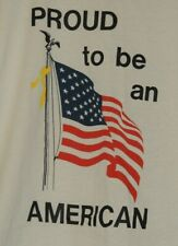 JERZEES Proud To Be An American Mens Size L USA Flag VTG America T Shirt
