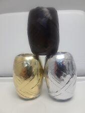*Bundle* 3 Pack - Black, Silver & Gold Metallic Curling Ribbon - 5mm wide