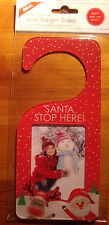 SANTA STOP HERE CHRISTMAS DOOR HANGER add your own 90x60 PH0TO (Red)