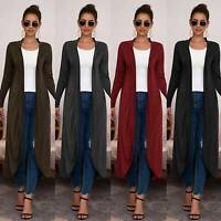 Womens Longline Chunky Long Sleeve Boyfriend Midi Length Cardigan Jumper Coats