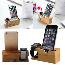 Wooden Charger Dock Bamboo Wood Cradle Watch Phone Holder Stand for iWatch iPhon