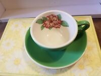 HOMER LAUGHLIN EMERALD GREEN ROSE COFFEE CUP AND SAUCER