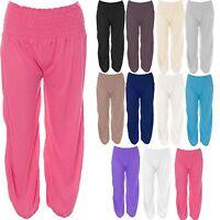 Ladies Ruched Waist Elasticated Ali Baba Harem Pants Trousers Baggy Lagenlook