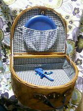 Picnic Basket Full Set For 4 Brown Large Splint Wicker Half Circle Vintage EUC
