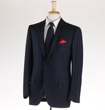 Cesare Attolini Navy With Sky Blue Stripe Wool Suit 42 R (eu 52)