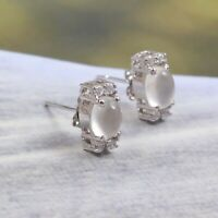 Genuine Moonstone Earrings Stud 925 Sterling Silver Dainty Boho Gift for Her