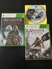 Xbox 360 Assassin's Creed , Revelations & IV Black Flag 3 Games Lot