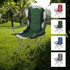 More details for folding camping deluxe chairs heavy duty luxury padded with cup holder high back