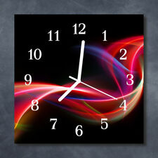Glass Wall Clock Kitchen Clocks 30x30 cm silent Abstract Lines Black Red