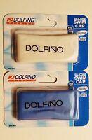 DOLFINO PREMIER SILICONE SWIM CAP *2 PACK* LATEX FREE CHOOSE YOUR COLOR FITS ALL