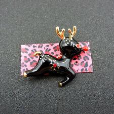 Sika Deer Crystal Charm Brooch Pin Animal Betsey Johnson Black Enamel Cute