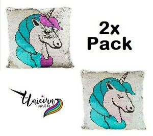 Pack of 2 Licensed Sequin Unicorn Soft Pillow Cushions Room Decorative Kids Gift