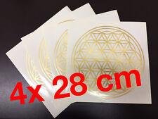 4x Blume des Lebens - gigantischer Gold Metallic Aufkleber 28 cm - Superbundle