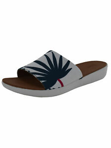 Fitflop Womens Sola Palm Print Slide Sandal Shoes, Urban White Mix, US 7