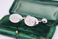 Vintage Sterling Silver cufflinks with a natural Diamond insert #B232
