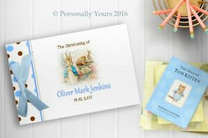 PERSONALISED PETER RABBIT - BABY BOY - CHRISTENING - BABY SHOWER GUEST BOOK