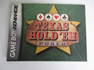 Game Boy Advance Texas Hold 'Em Poker Instruction Booklet MANUAL ONLY
