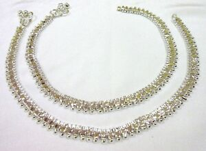 Indian Payal Anklet Bollywood Designer Silver Tone CZ Stone Party  Women Jewelry
