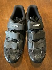 mens black giro cycle shoes with clips installed